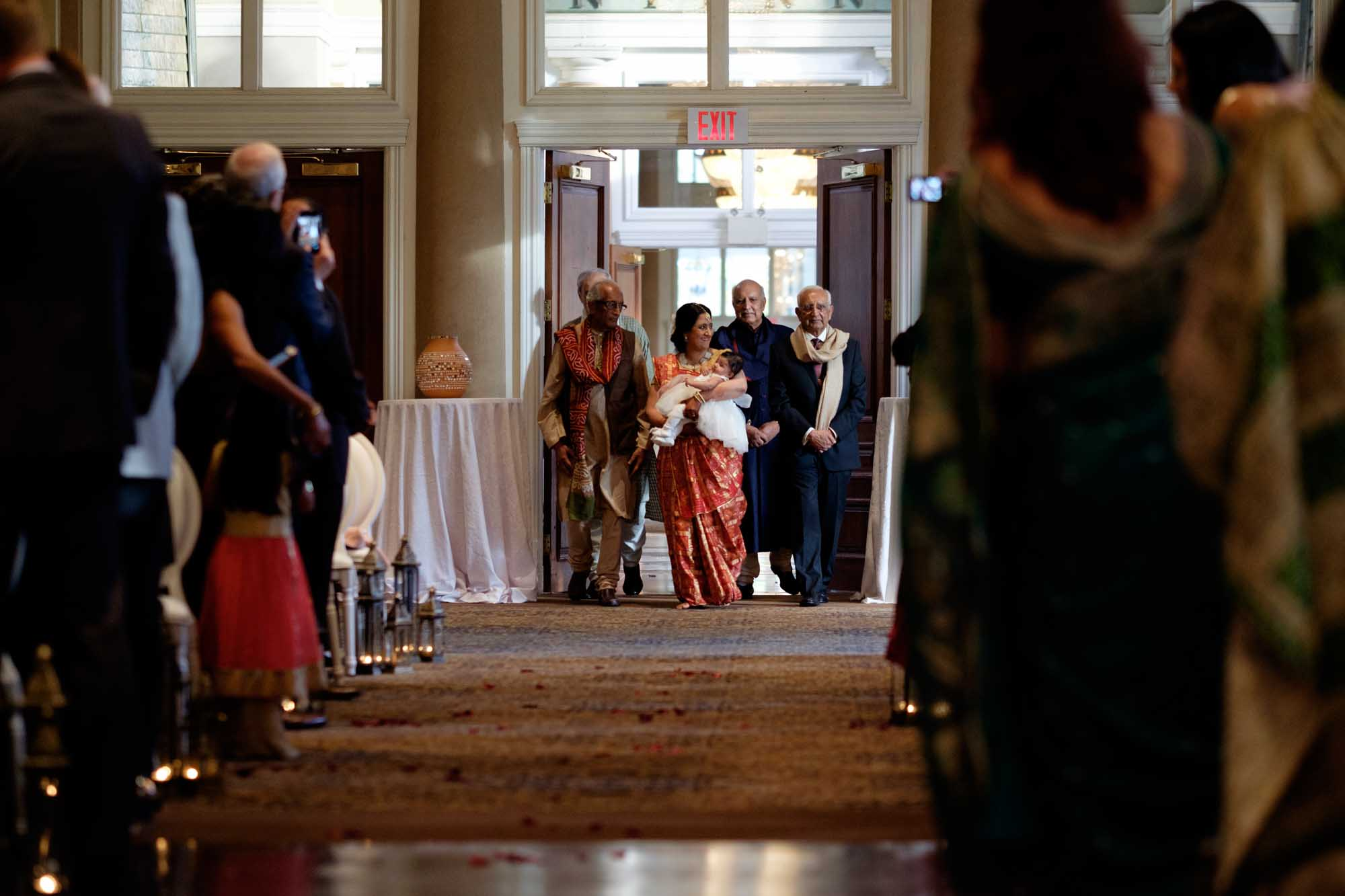 bride makes her entrance to the wedding ceremony at the Liberty Grand in toronto.