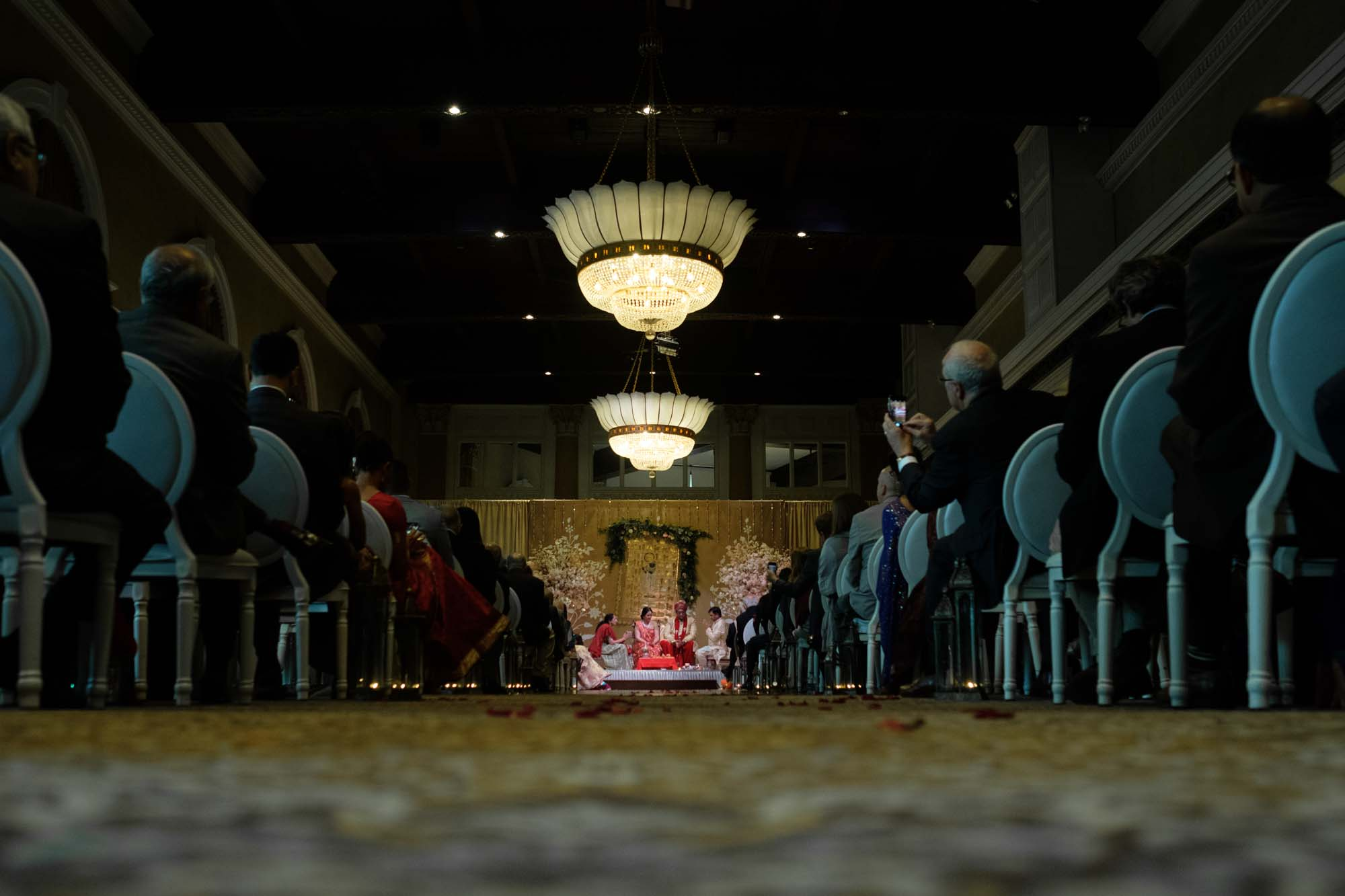 wide angle photograph from the Hindu wedding ceremony at Toronto's Liberty Grand
