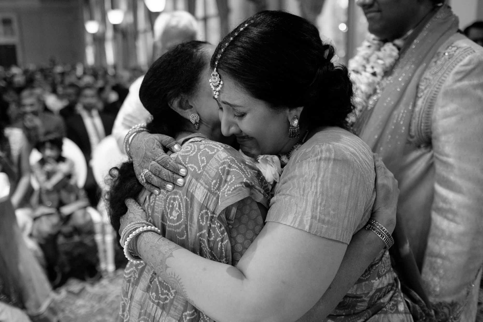 an emotional black and white image from a toronto indian wedding at liberty grand