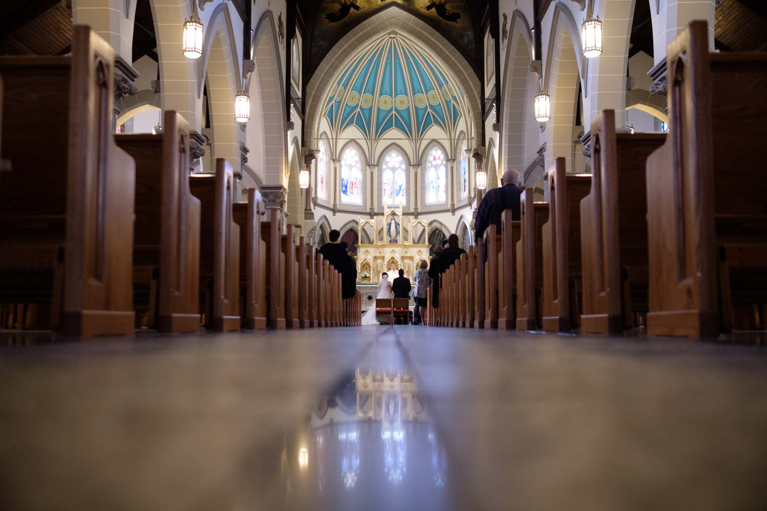 A wide angle photograph from a Toronto wedding ceremony.