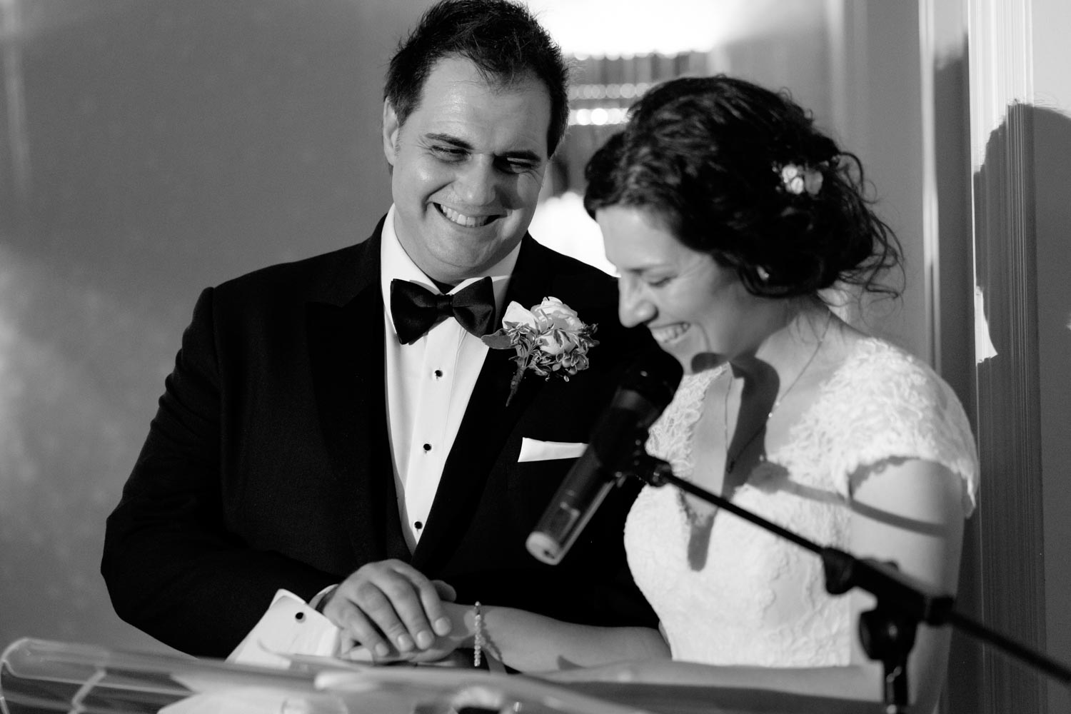 the newlywed couple gives a speech during their wedding reception at Graydon Hall in Toronto.