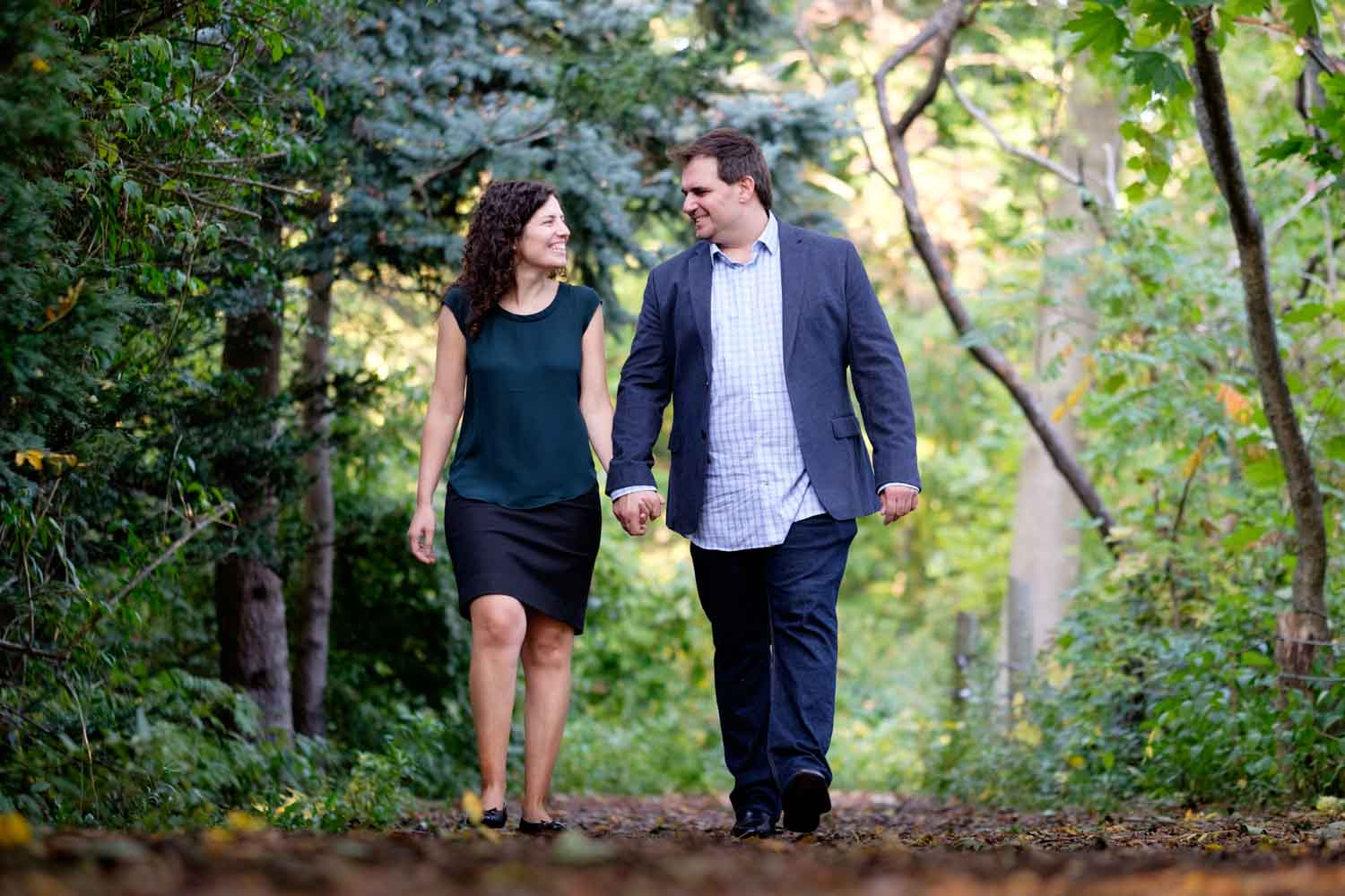 A picture from Jenny + John's autumn engagement session at the Guild Park in Toronto.
