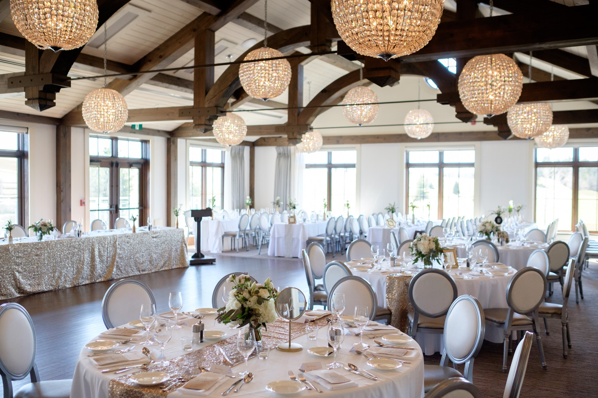 A detail photograph of the reception room at Sarah + Rob's wedding at Whistle Bear in Cambridge, Ontario.