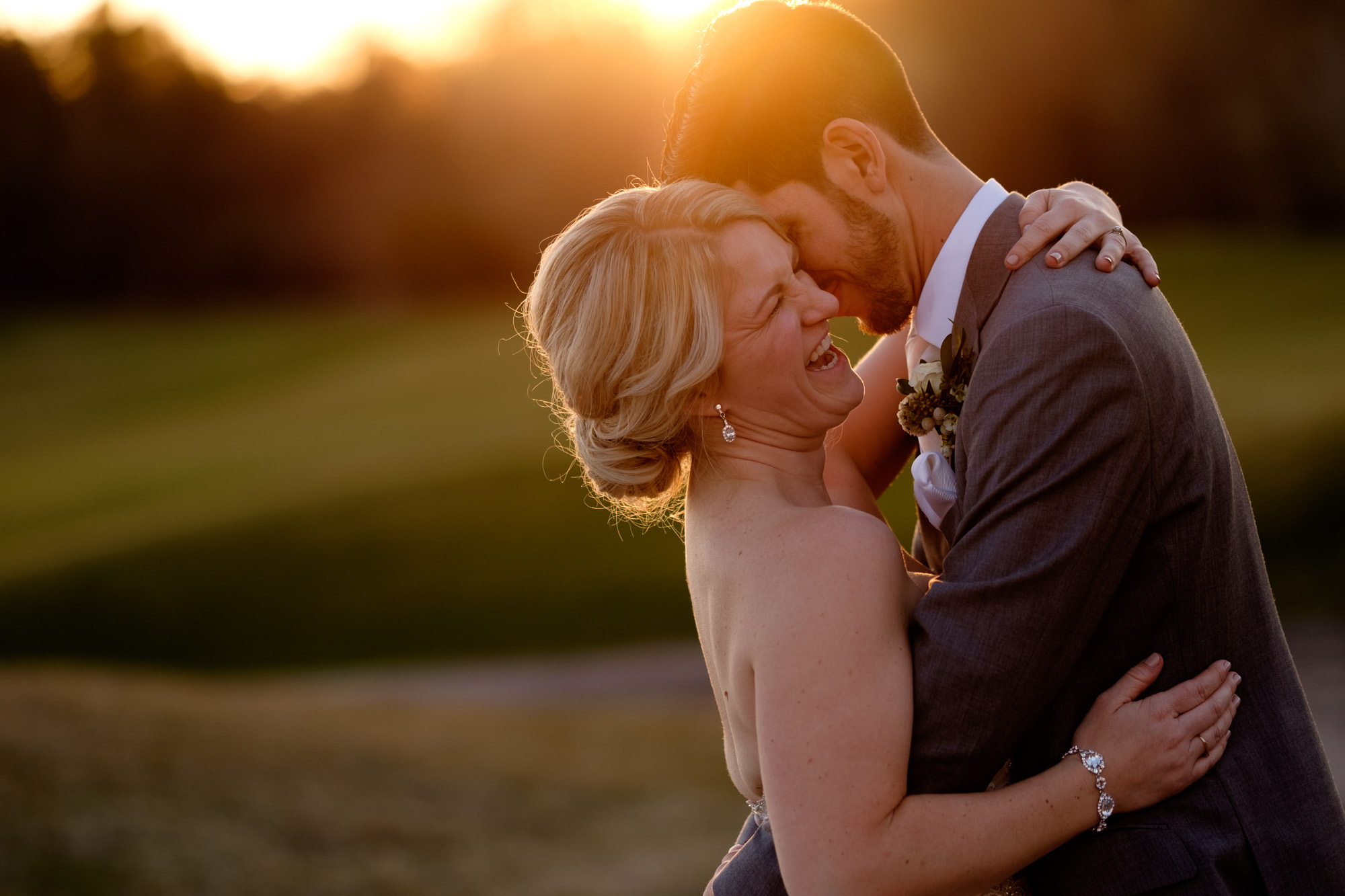 A sunset portrait of Sarah + Rob at Whistle Bear in Cambridge, Ontario.