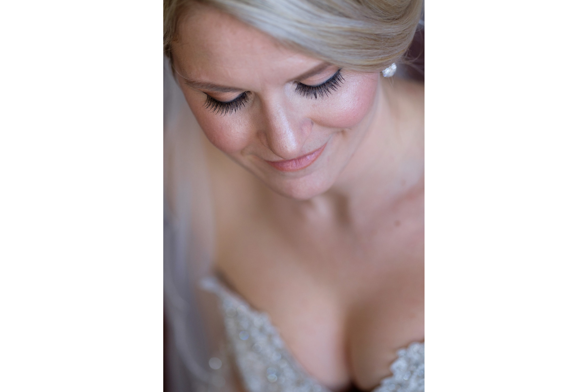 A portrait of the bride in her parents home before the wedding ceremony at WhistleBear in Cambridge, Ontario.