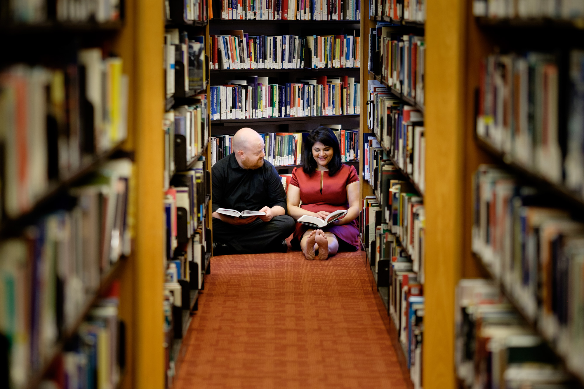 A photograph from Noor + John's downtown Toronto engagement session at the Toronto Reference Library.