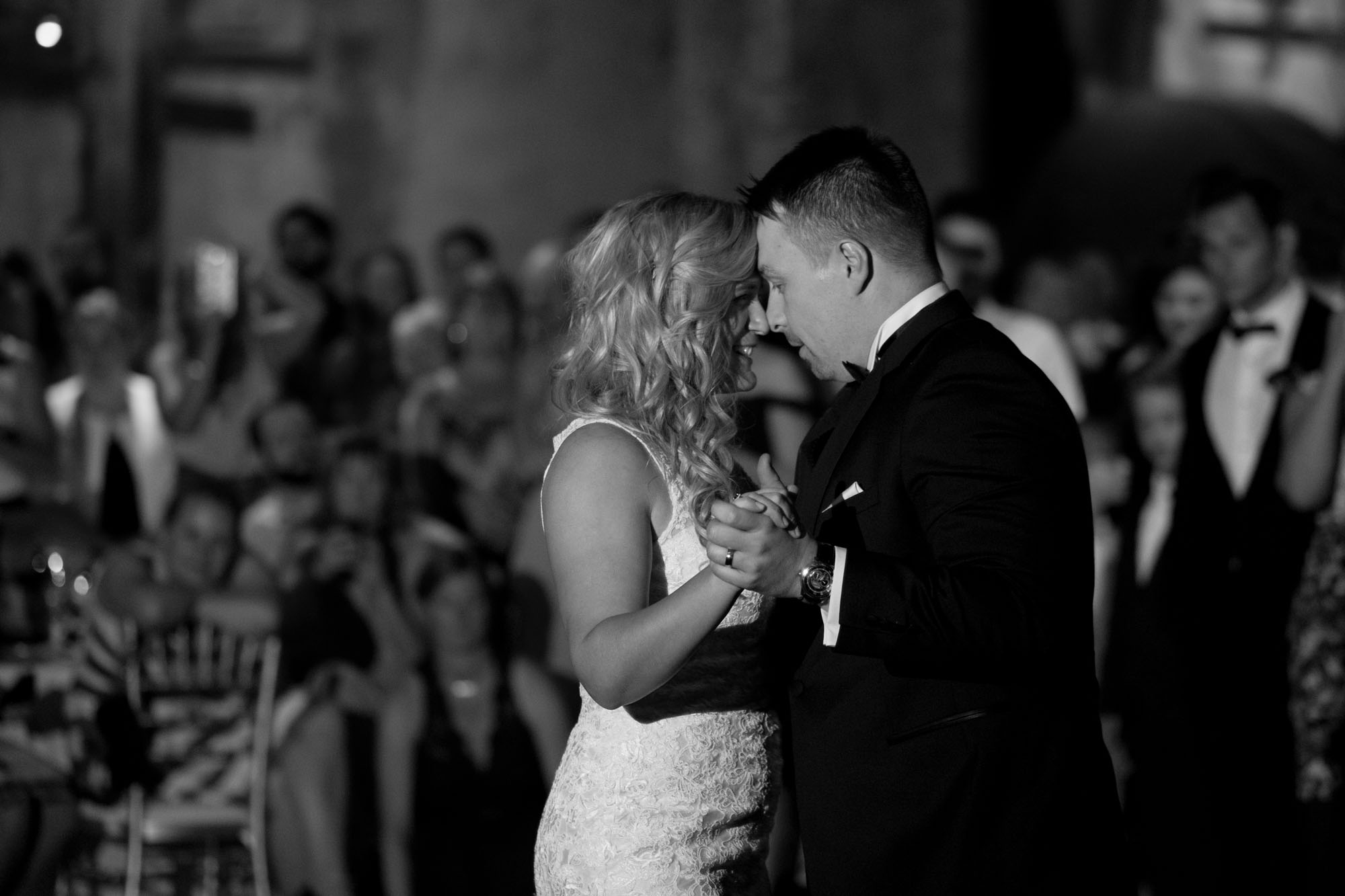 Sarah + Konrad enjoy their first dance as a married couple during their reception at the Fermenting Cellar in Toronto.