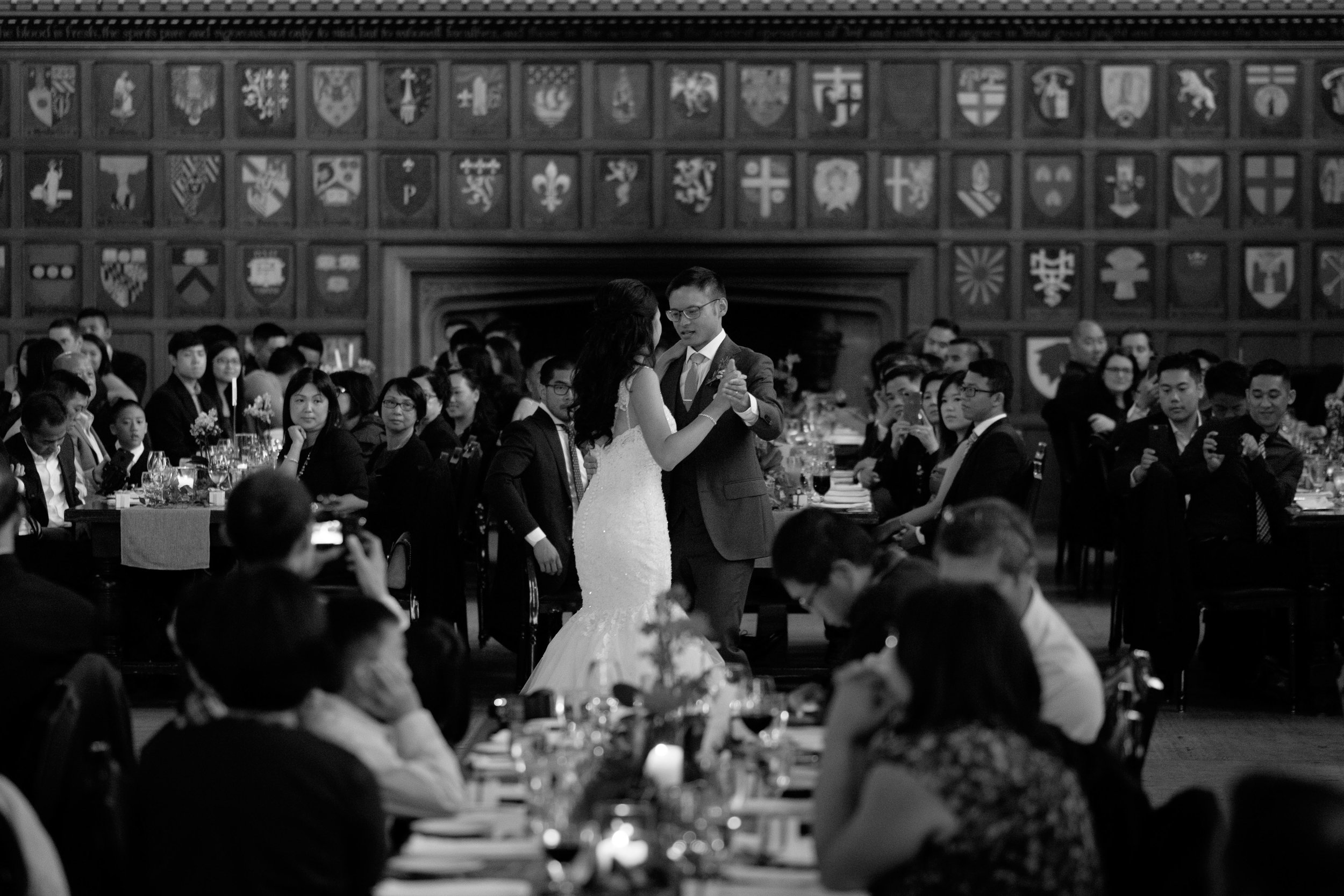 Linda + Andrew enjoy their first dance as a married couple during their wedding receptoin at the Hart House in Toronto.