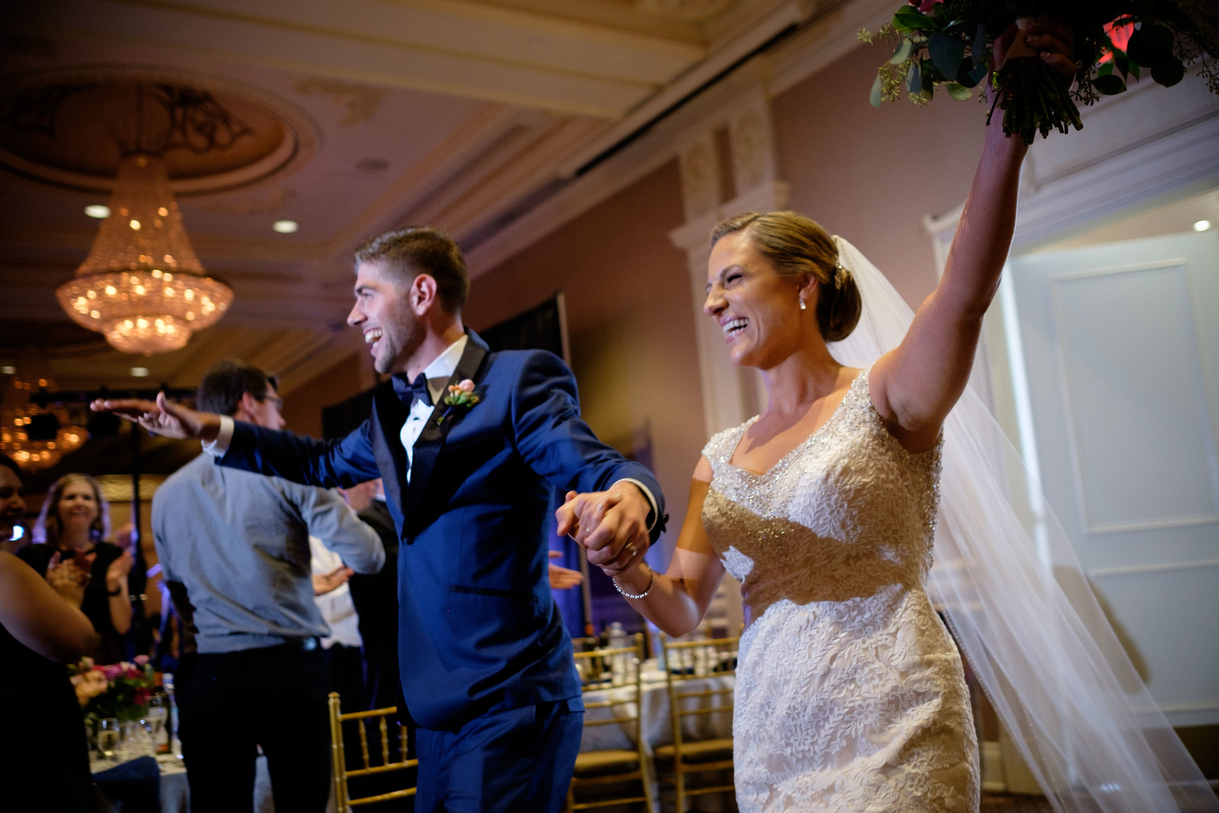 Sabrina + Zach make their grand entrance into their wedding reception at the Jewel Event Centre in Toronto.