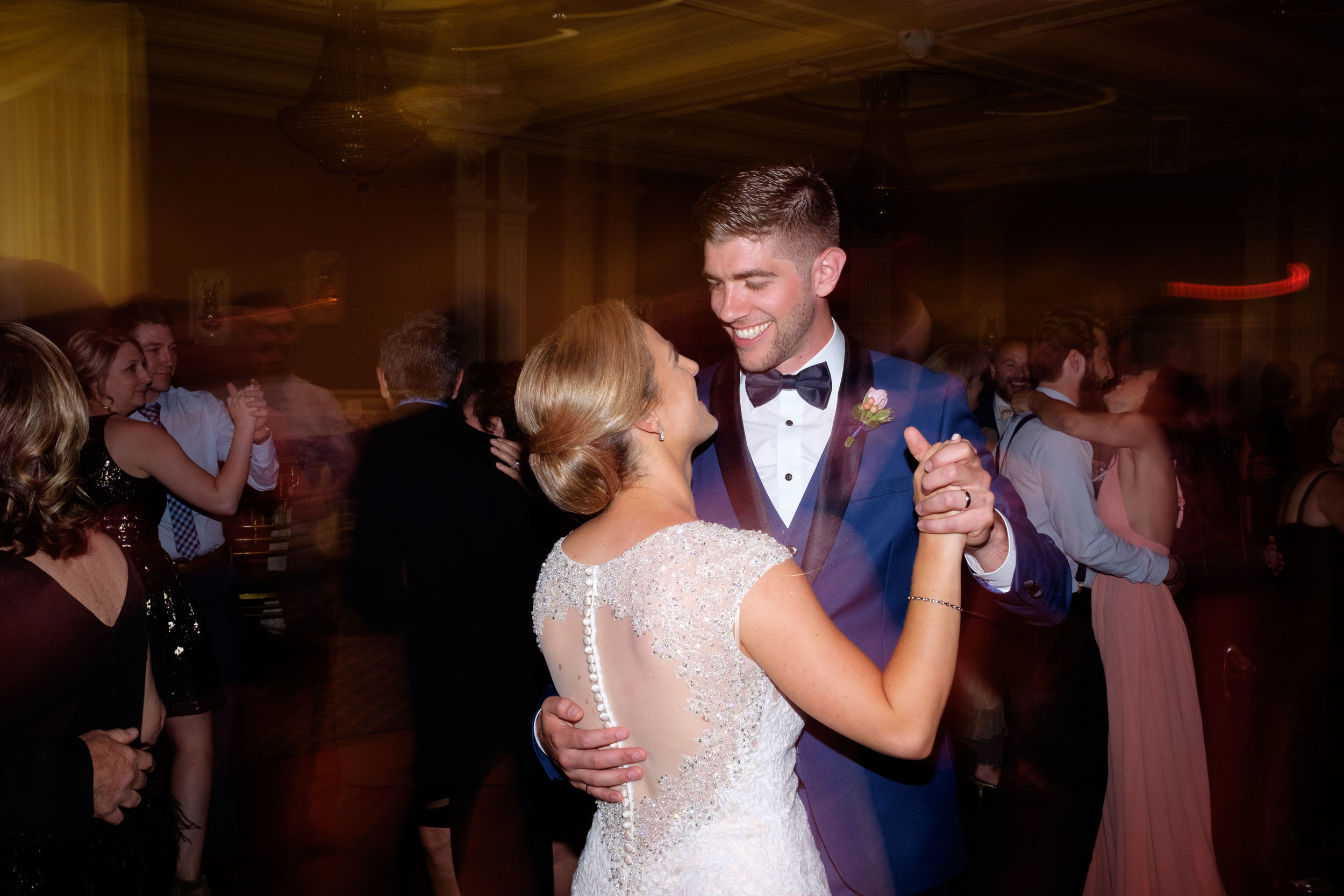 Sabrina + Zach share a dance during their wedding reception at the Jewel Event Centre in Toronto.