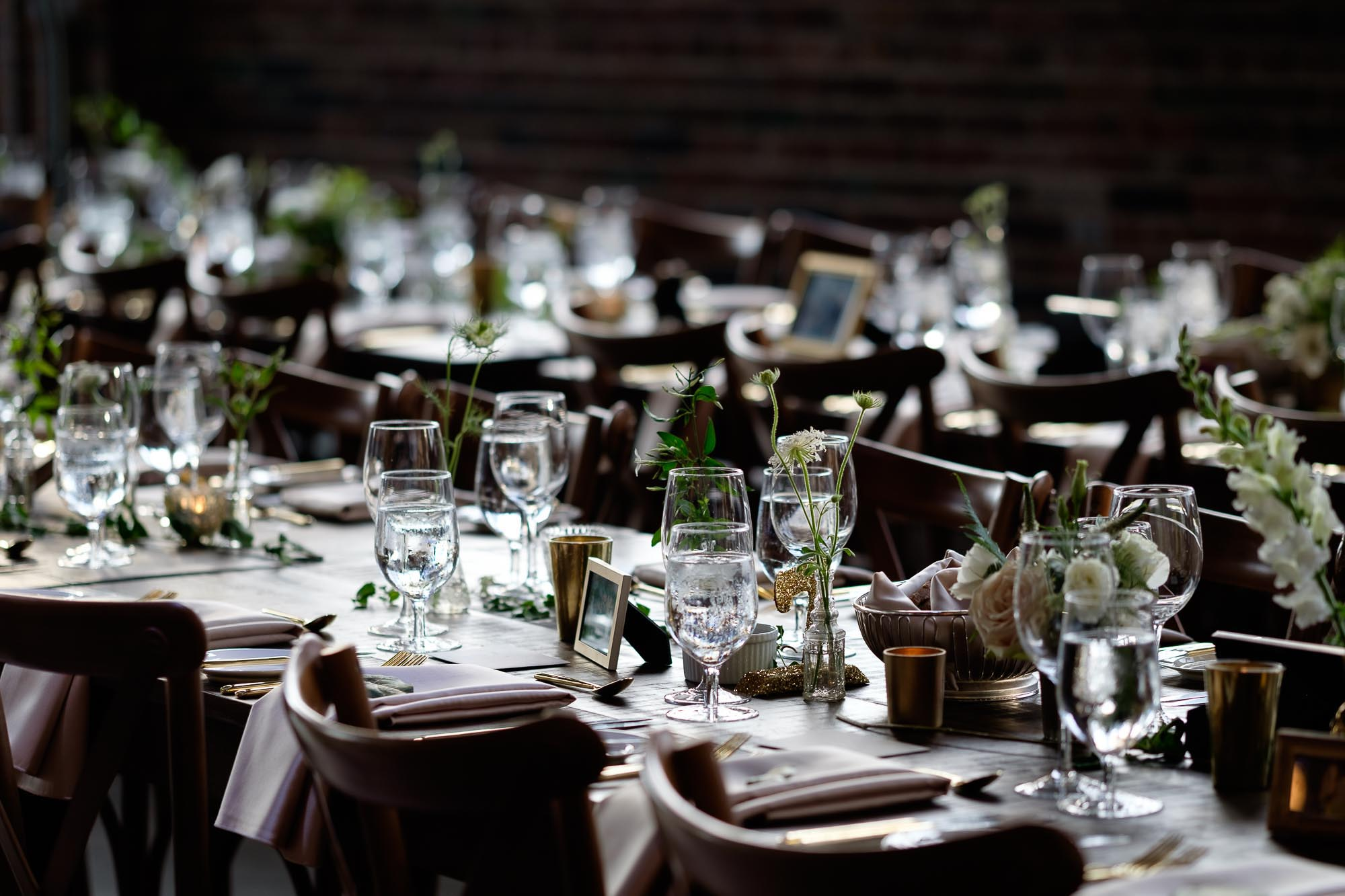 A detail photograph of the table settings from a wedding at SteamWhistle Brewery in downtown Toronto.