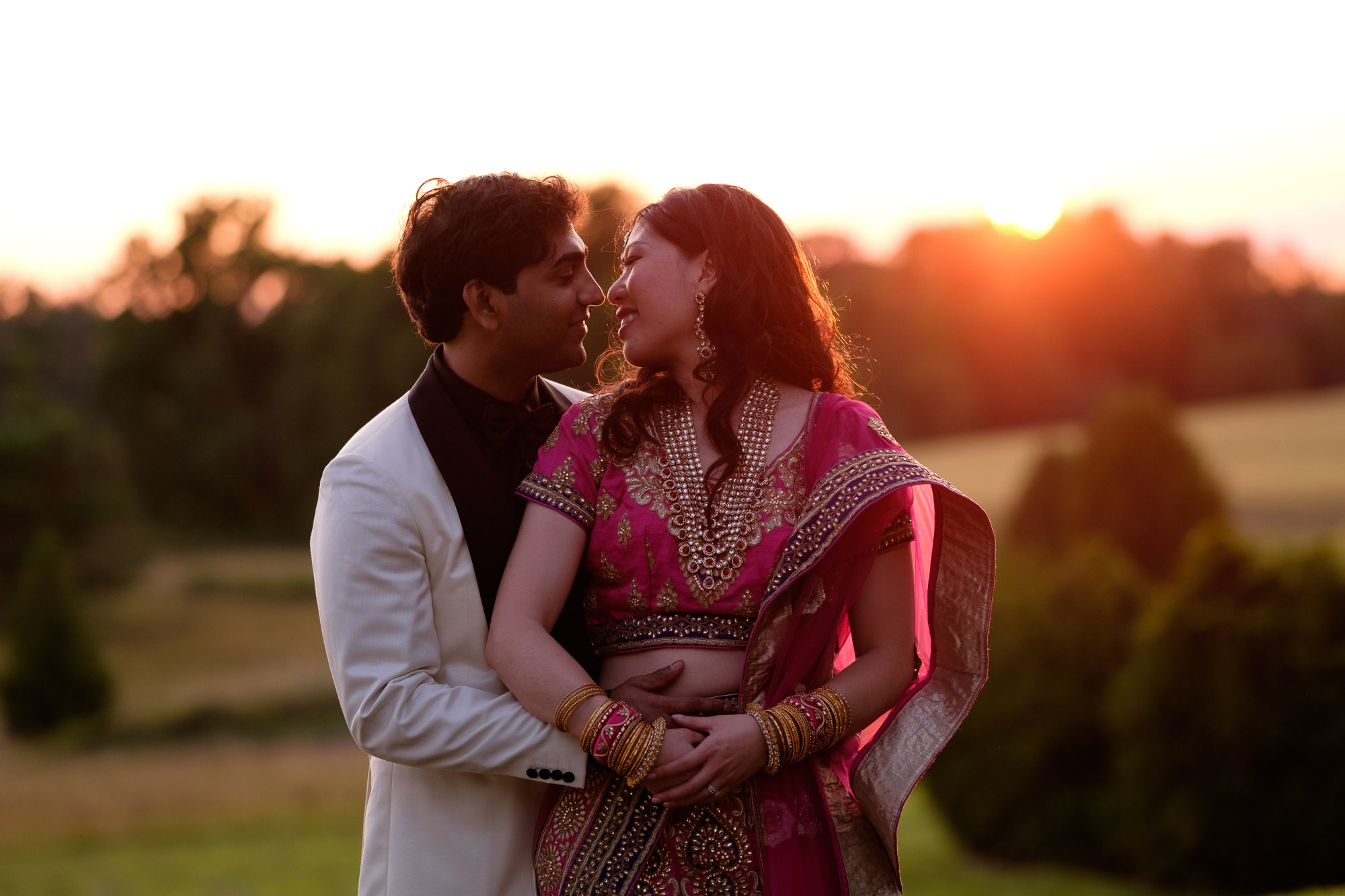 A sunset portrait of Chelsea + Danny from their wedding at the Waterstone Estate north of Toronto.