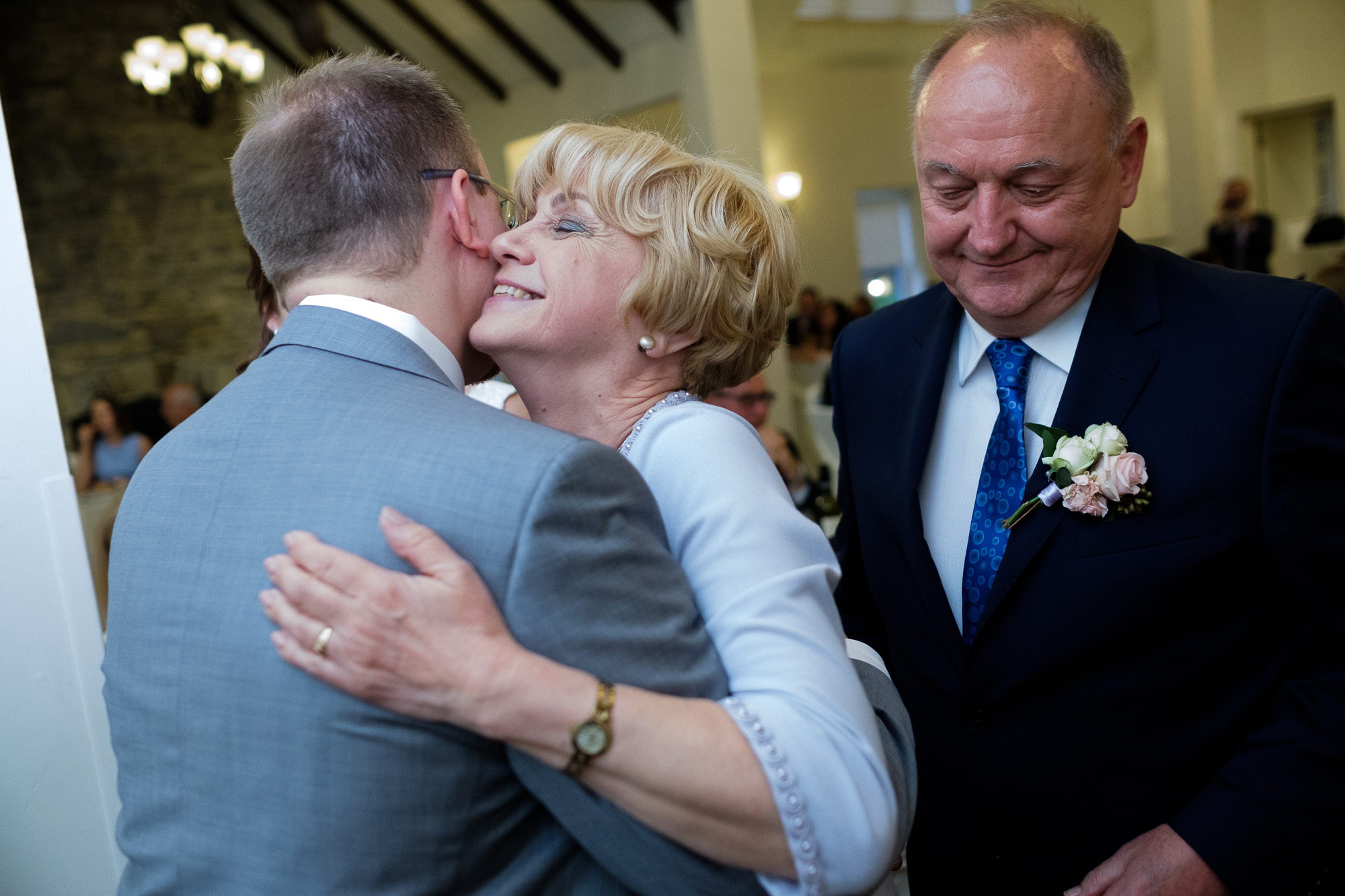 The groom give his mom a hug after her wedding toast during the wedding reception at the Glenerin Inn outside of Toronto