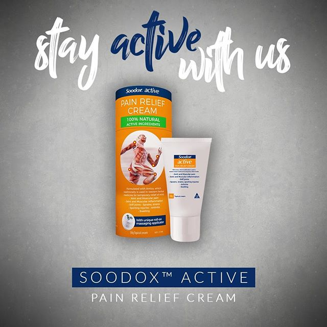 Did you know there is a new pain relief cream on the horizon? . Soodox™ Active provides temporary relief of mild conditions associated with exercise, including joint and muscular pain, stiff joints, sprains, strains, swelling and sport injuries. 🏃‍♂️ . Learn more: ➡️ http://bit.ly/SoodoxActive . Pre-order now: ➡️ http://bit.ly/buySoodox . 👉 Always read the label and follow directions for use. If symptoms persist, consult your healthcare professional. . #stayactivewithus #soodox