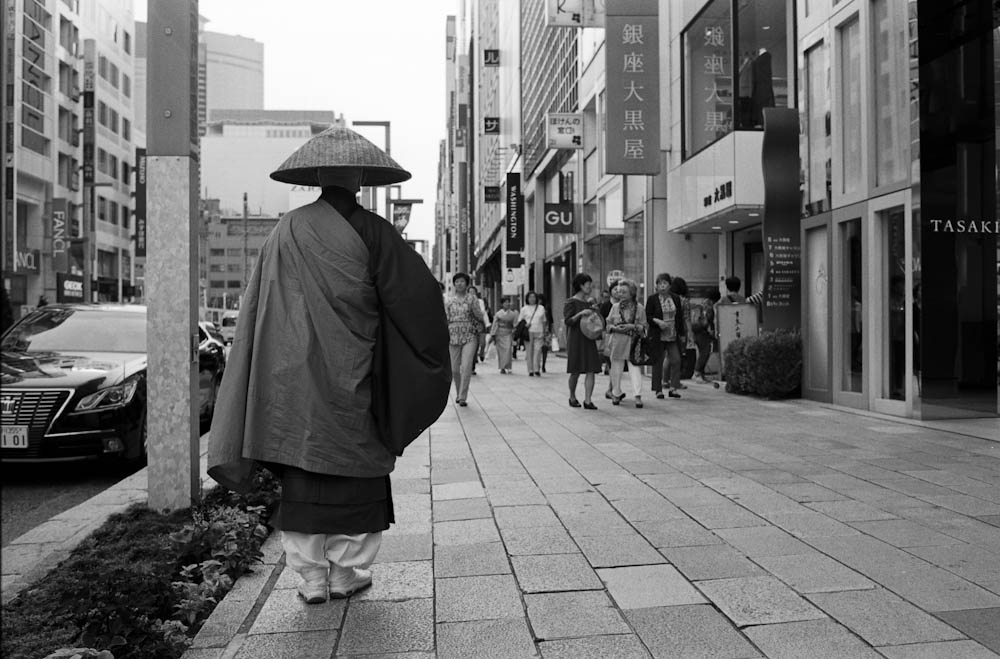 Ginza, Tokyo - Occasionally you would see monks on the street with their eyes covered by their hats.