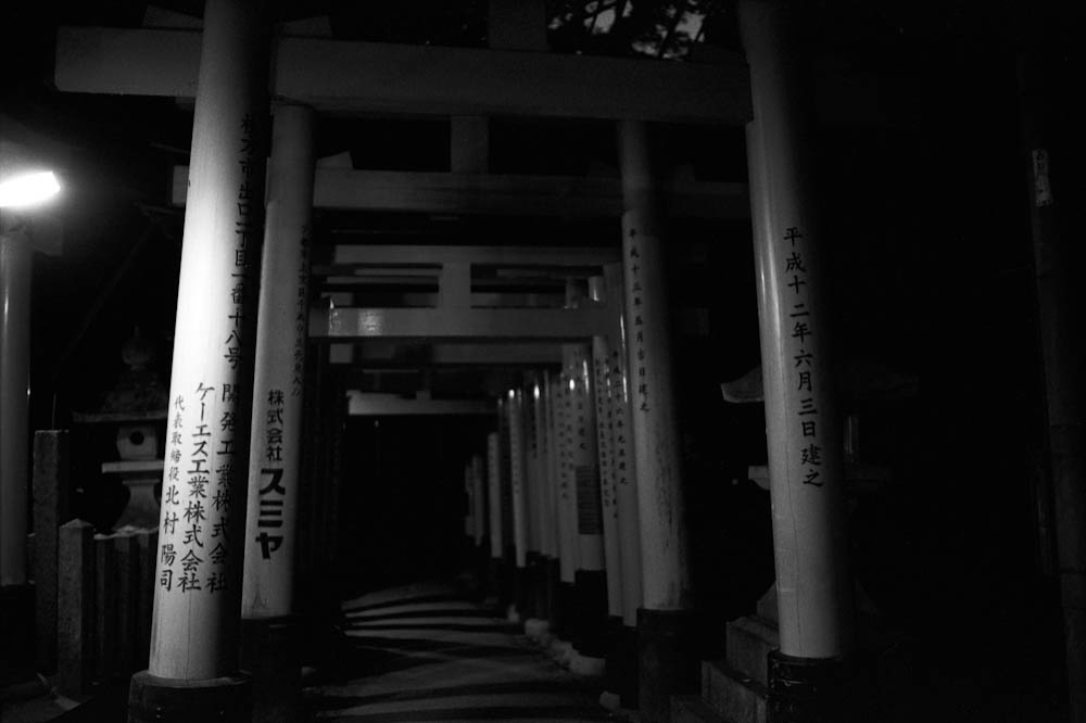 The Fushimi Inari shrine area has a hike that goes for about two hours through these torii style gates. As we arrived very late, it started to get very dark very quickly. Before we knew it, we were enveloped in darkness going through a trail in Japan in almost absolute quiet. After we noticed it starting to elevate and we found ourselves stumbling in the dark, we decided to turn around and call it a day.