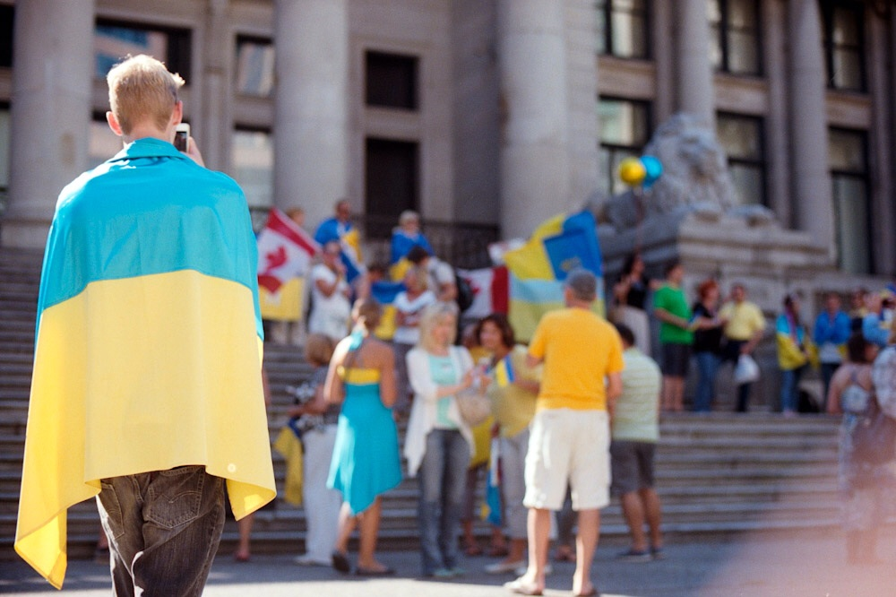 While in the midst of a shopping trip, my wife and I went in different directions. I was walking by the Vancouver Art Gallery when I noticed a lot of commotion starting to happen. Before I knew it, I was in the midst of Ukraine Demonstration.