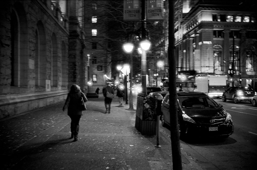 There are some areas where the lights are really nice in Downtown Vancouver. This one is by the Birks store.