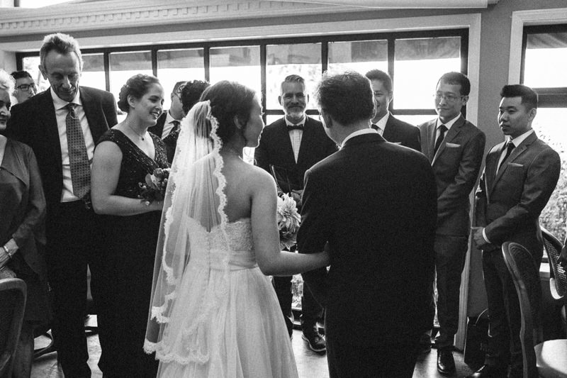 That moment when the Father gives his bride away. I'm usually in the front but this time I took the back angle.