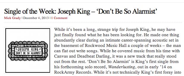 http://goodbyebabylon.com/wordpress2/2013/12/04/single-of-the-week-joseph-king-dont-be-so-alarmist/
