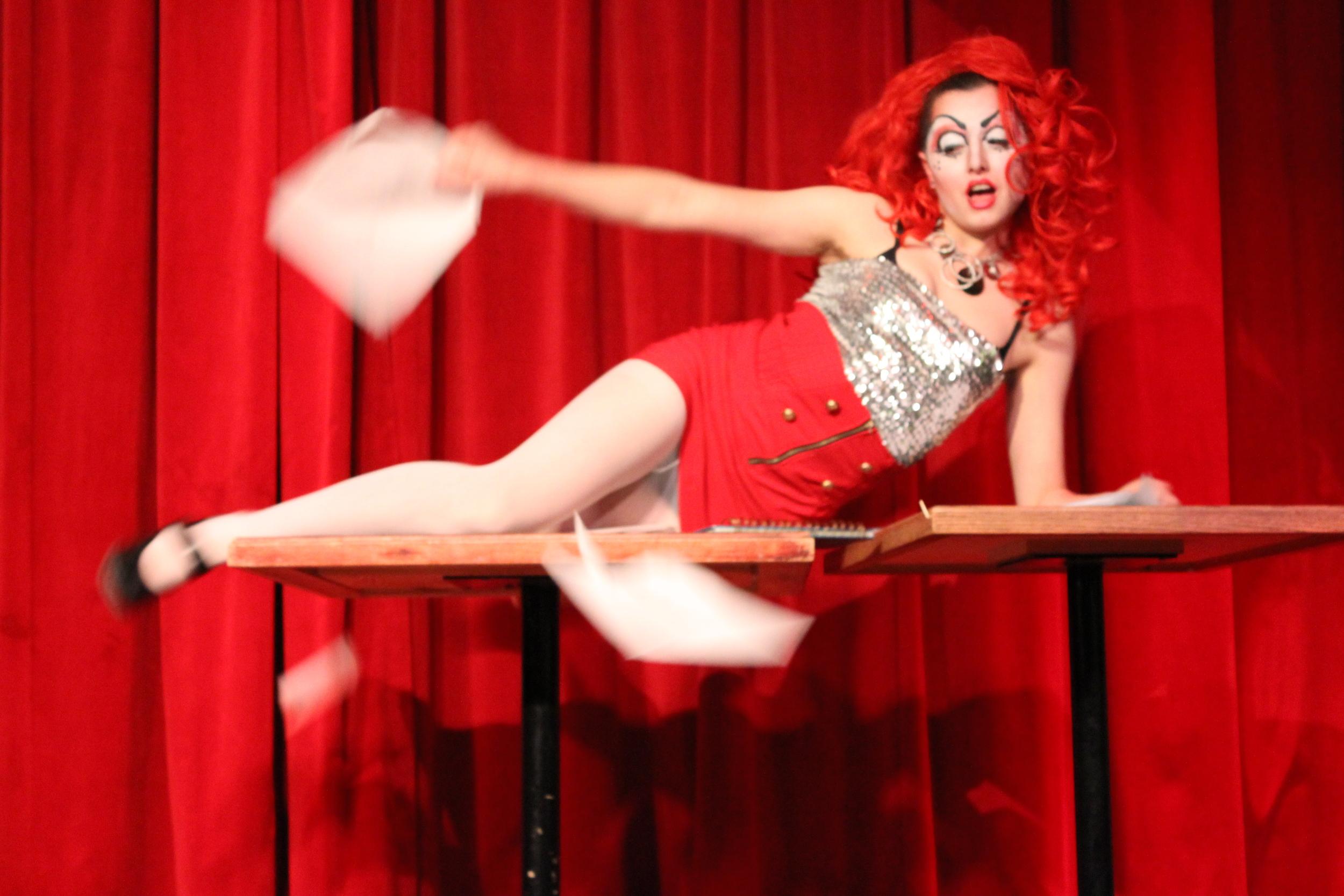 Burlesque performer Dot shows us what she thinks of paperwork at the fourth installment of  Gender Blender.   October 25, 2013, Cafe l'Artère, Montréal.