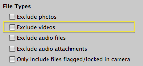 File Types section of the Aperture Import pane