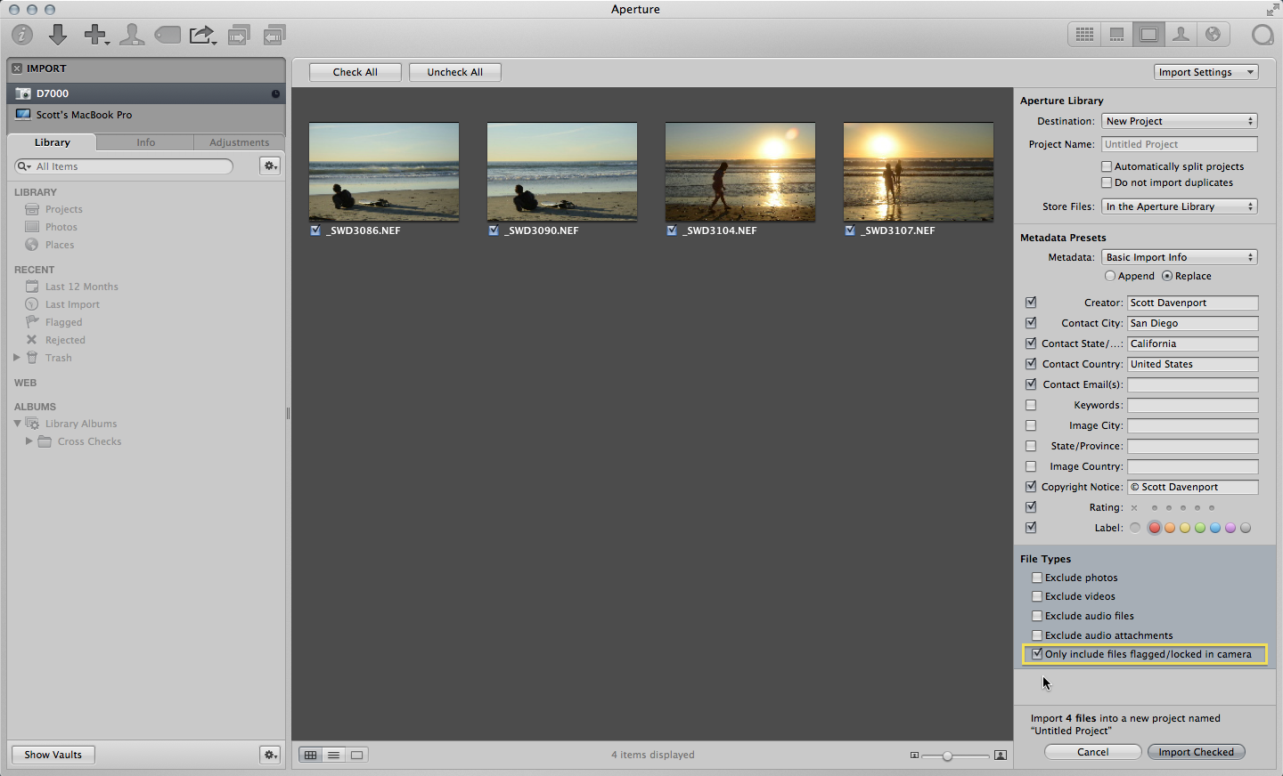 The File Types pane has many options to hone in on exactly the photos you want to import