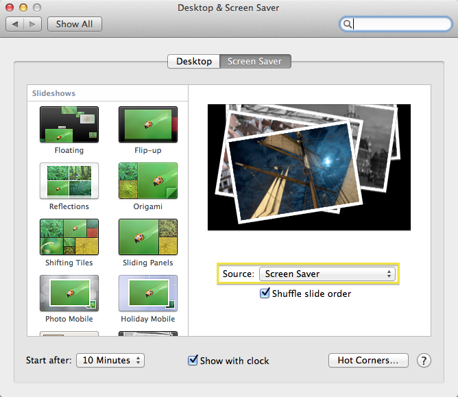 In System Preferences, set the Screen Saver source to a Folder