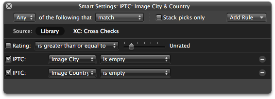 A smart album to check for missing IPTC information