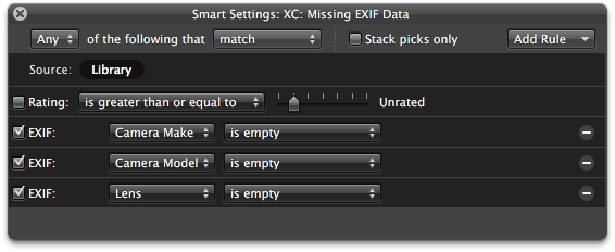 A smart album to find images with missing EXIF data