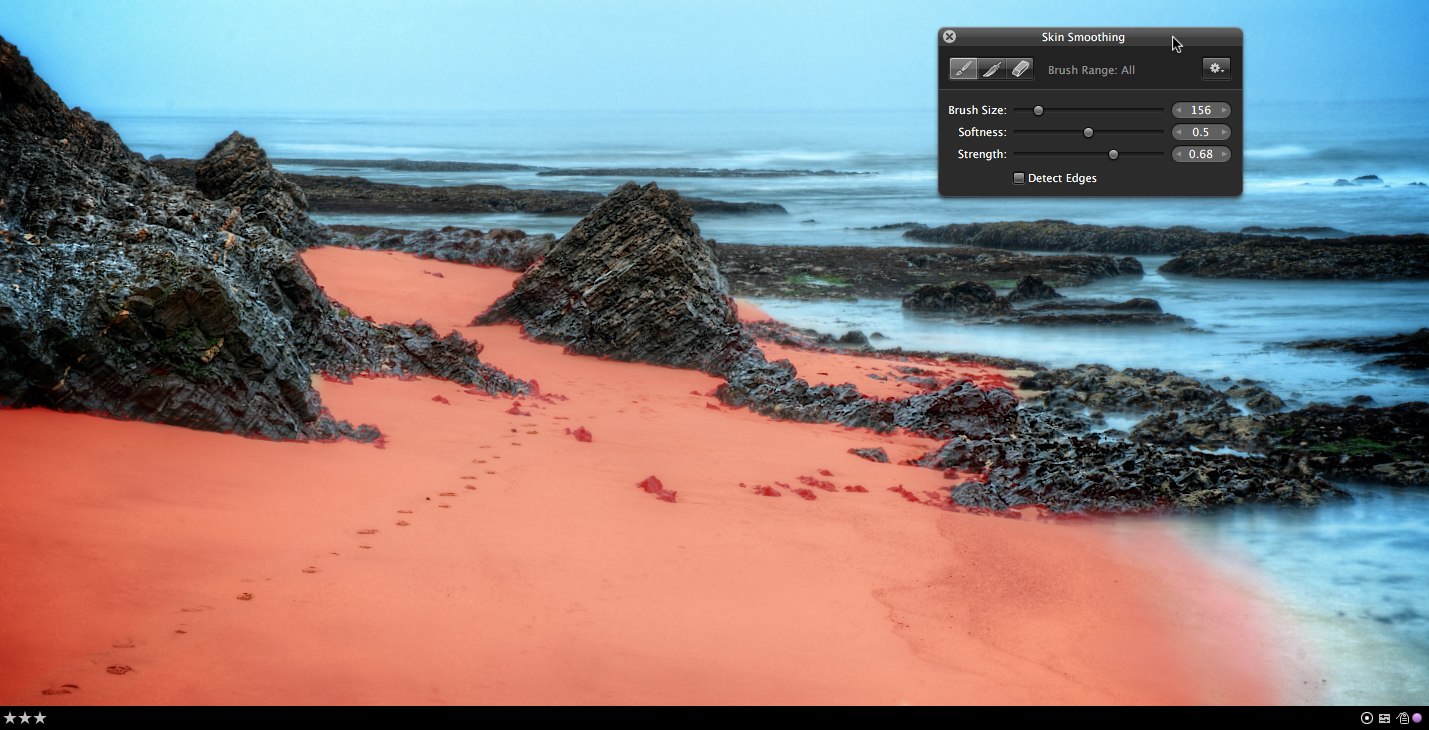 Aperture's Skin Smoothing applied to the sand