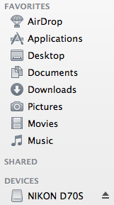 Eject in Finder