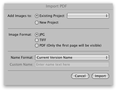 Importing a PDF into Aperture