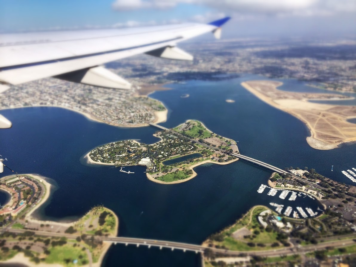 San Diego's Mission Bay during takeoff