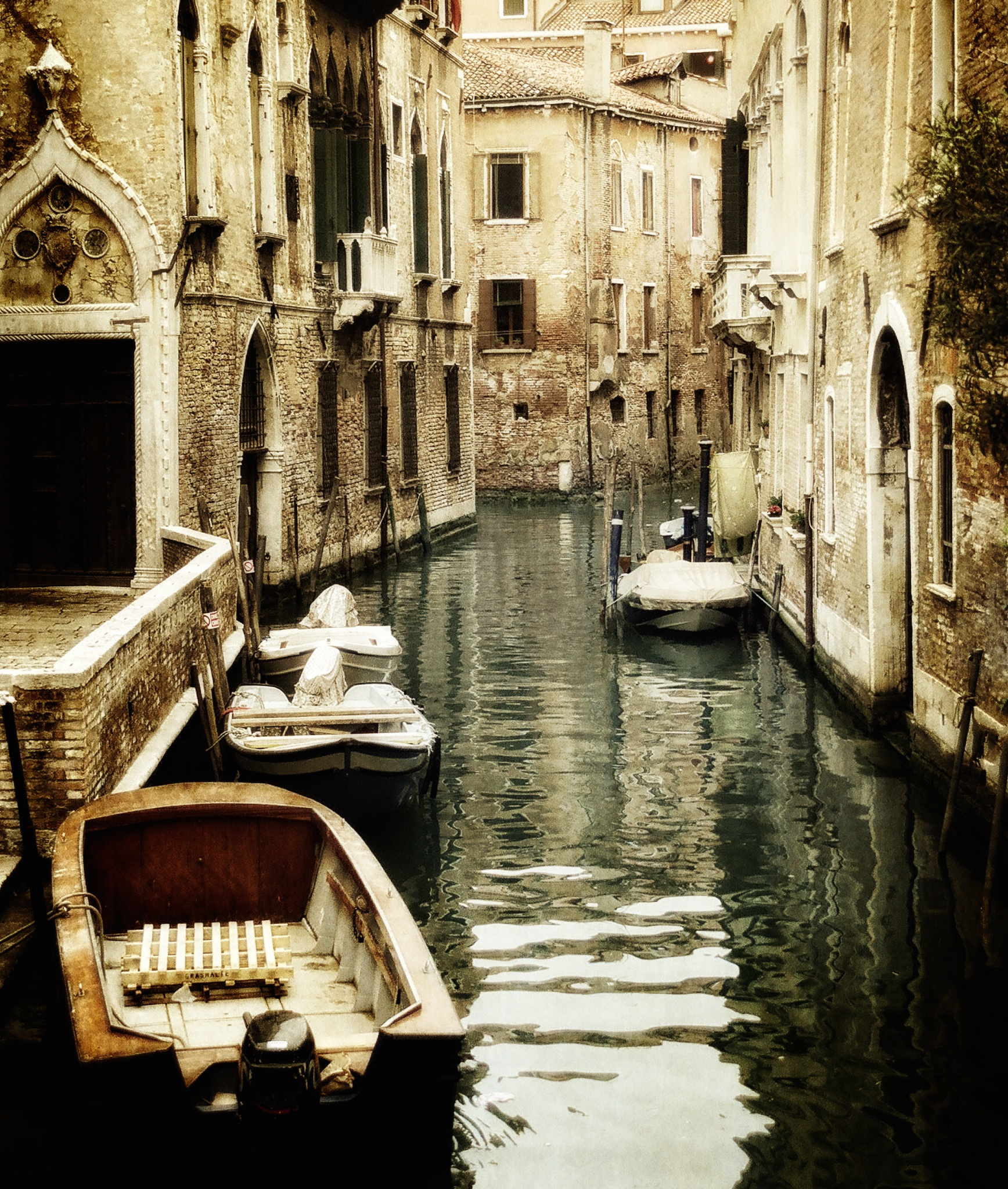 Boats In A Canal, Venice, Italy