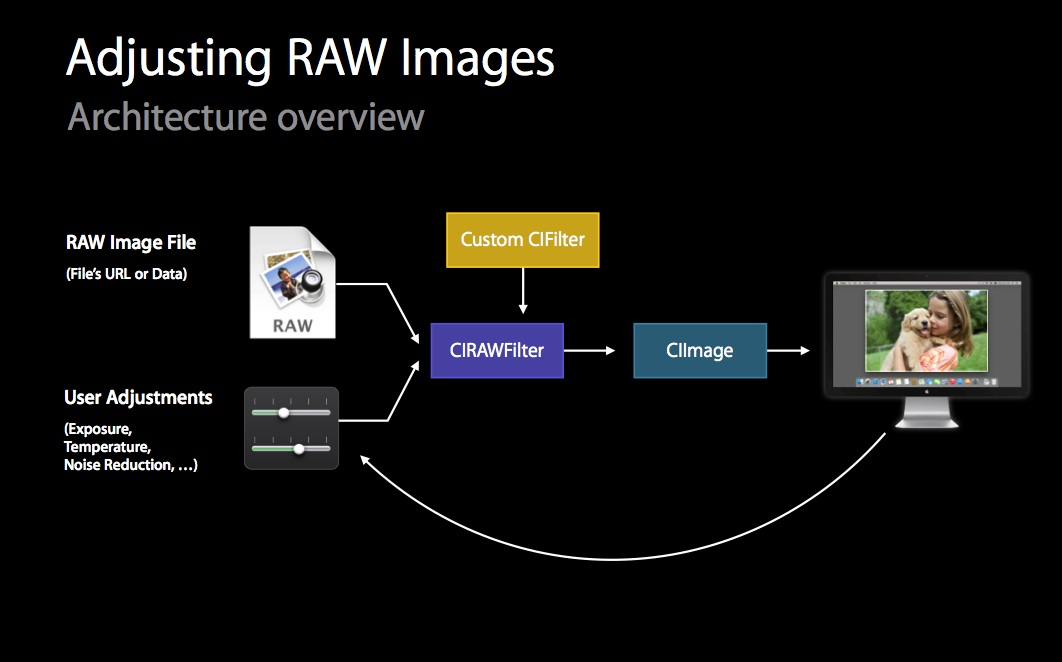 Apps can modify the RAW data stream before rendering