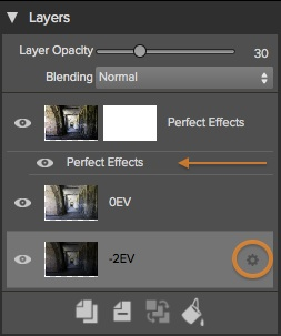 Smart Layers are indicated by a gear icon when selected. Layers with modules inset beneath them are also Smart Layers.