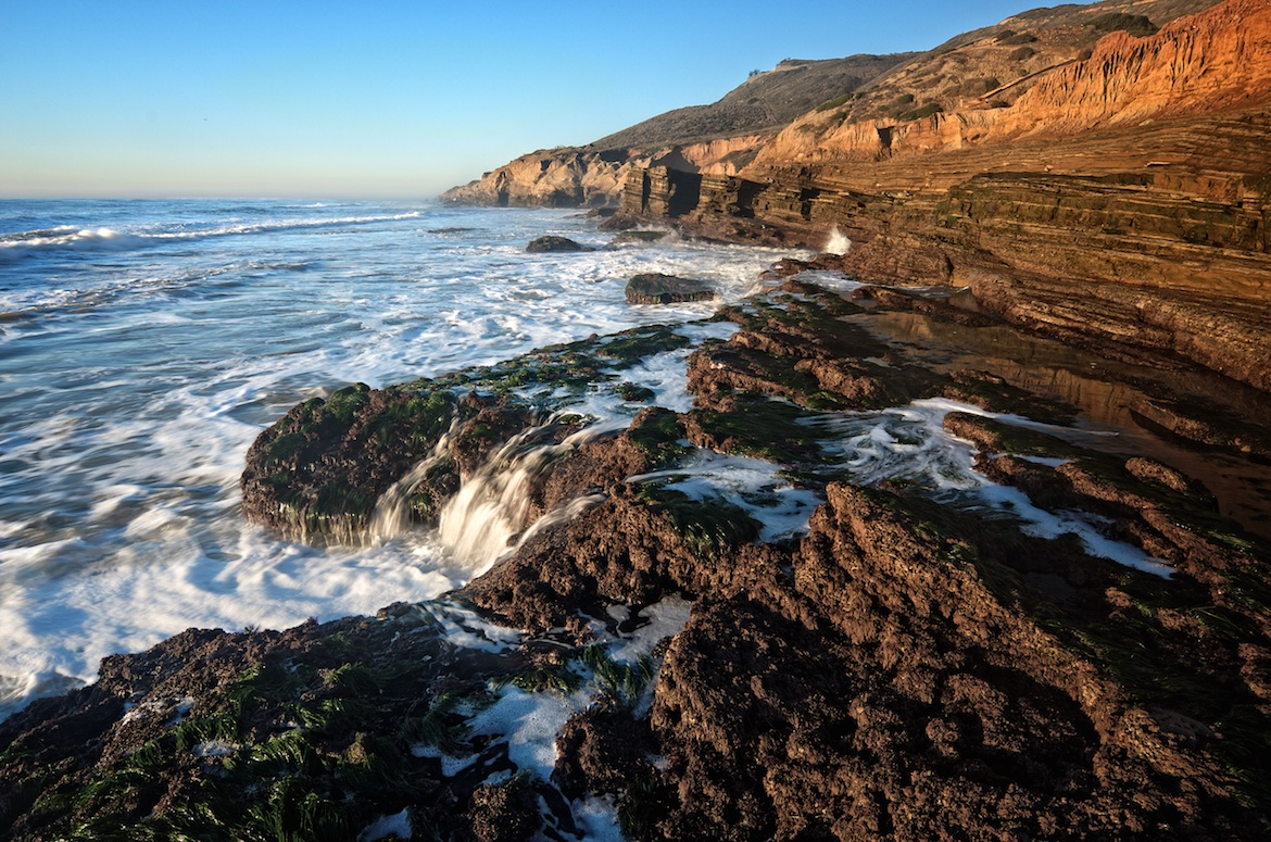 The base of the cliffs at Cabrillo National Monument, San Diego