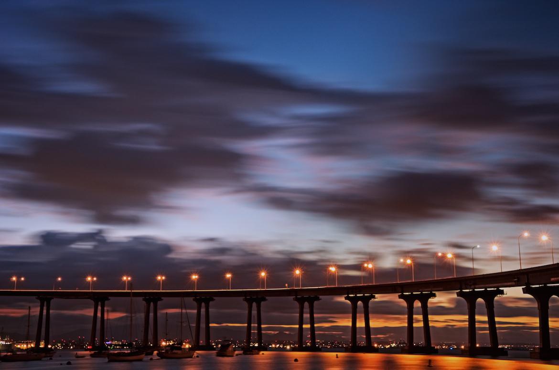 Sunrise under the Coronado Bridge
