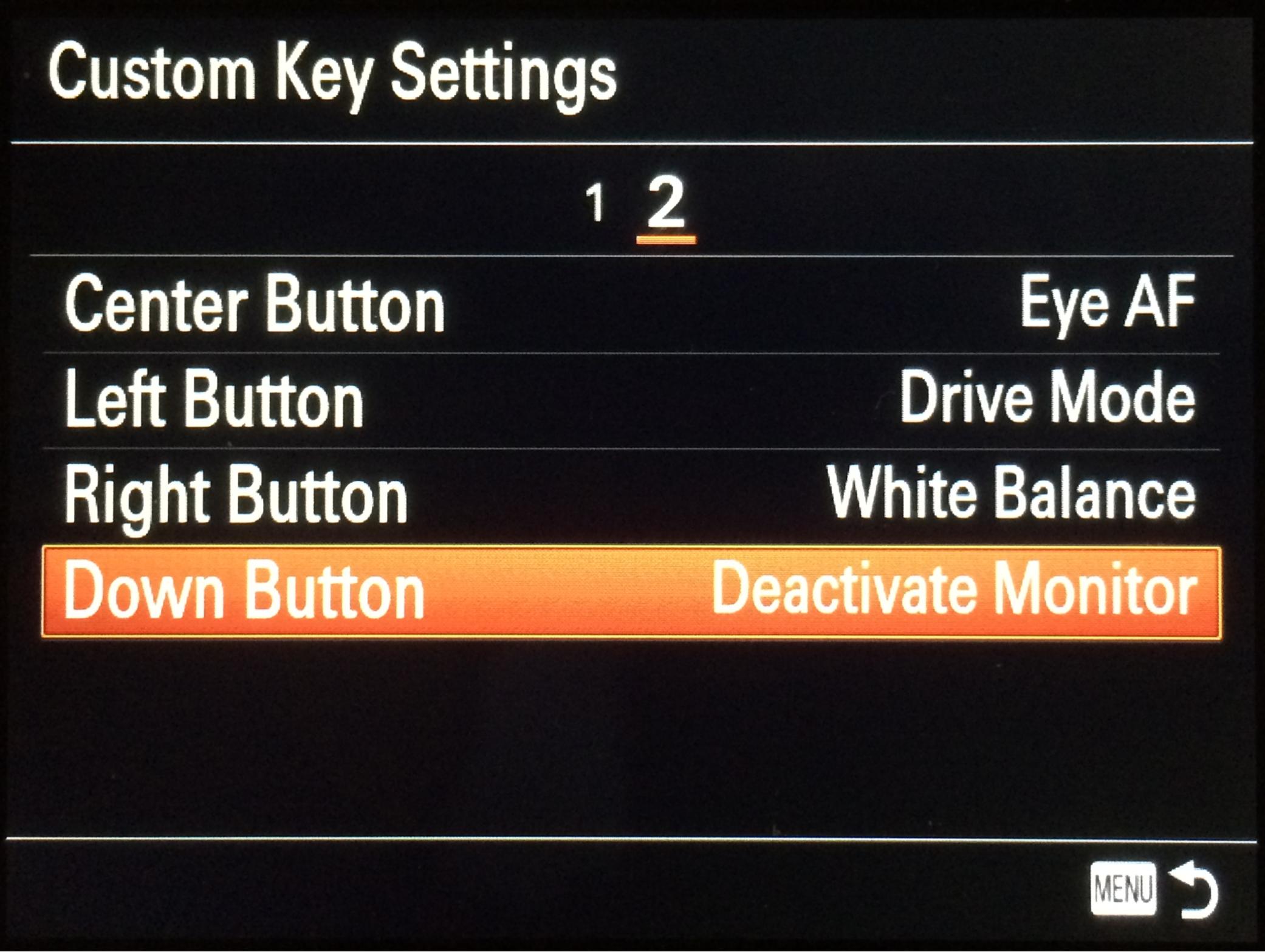 Sony A7R, Custom Key Settings menu, Page 2