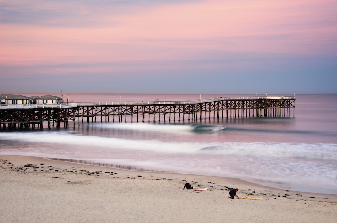 Surfers At Crystal Pier