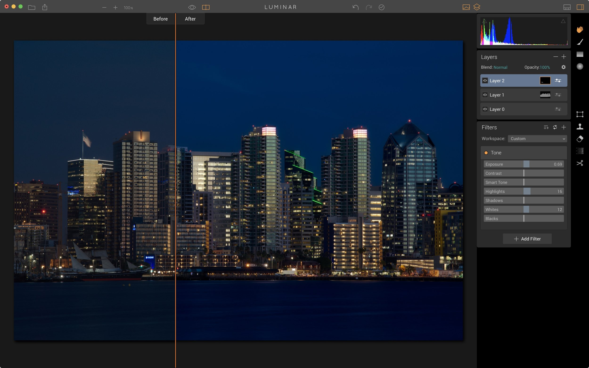 Before and after in Luminar