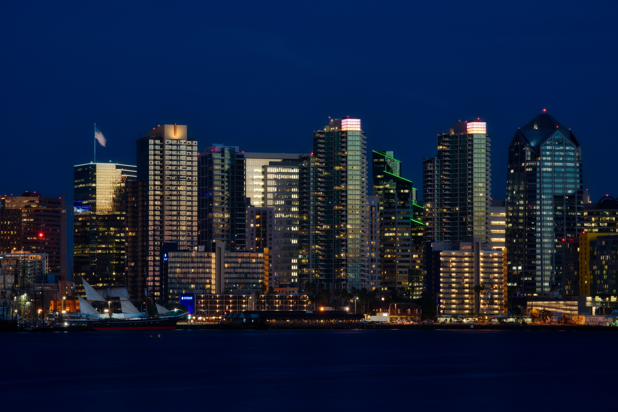 A portion of the San Diego skyline, processed in Luminar by Macphun