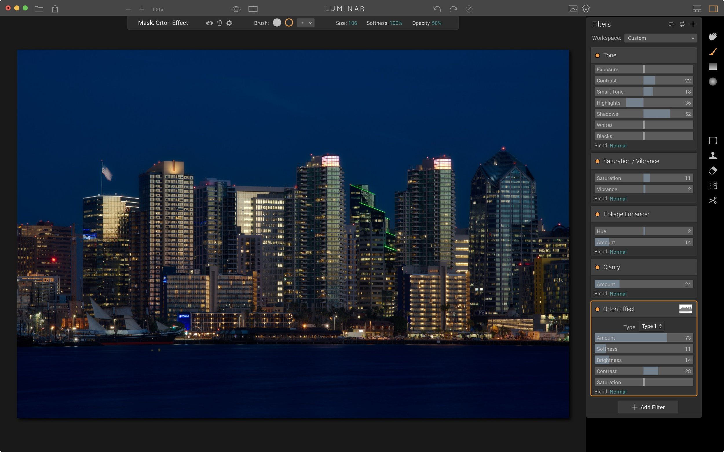 Step 4: Mask the Orton filter away from the skyline