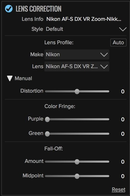Lens Corrections are applied automatically to RAW files