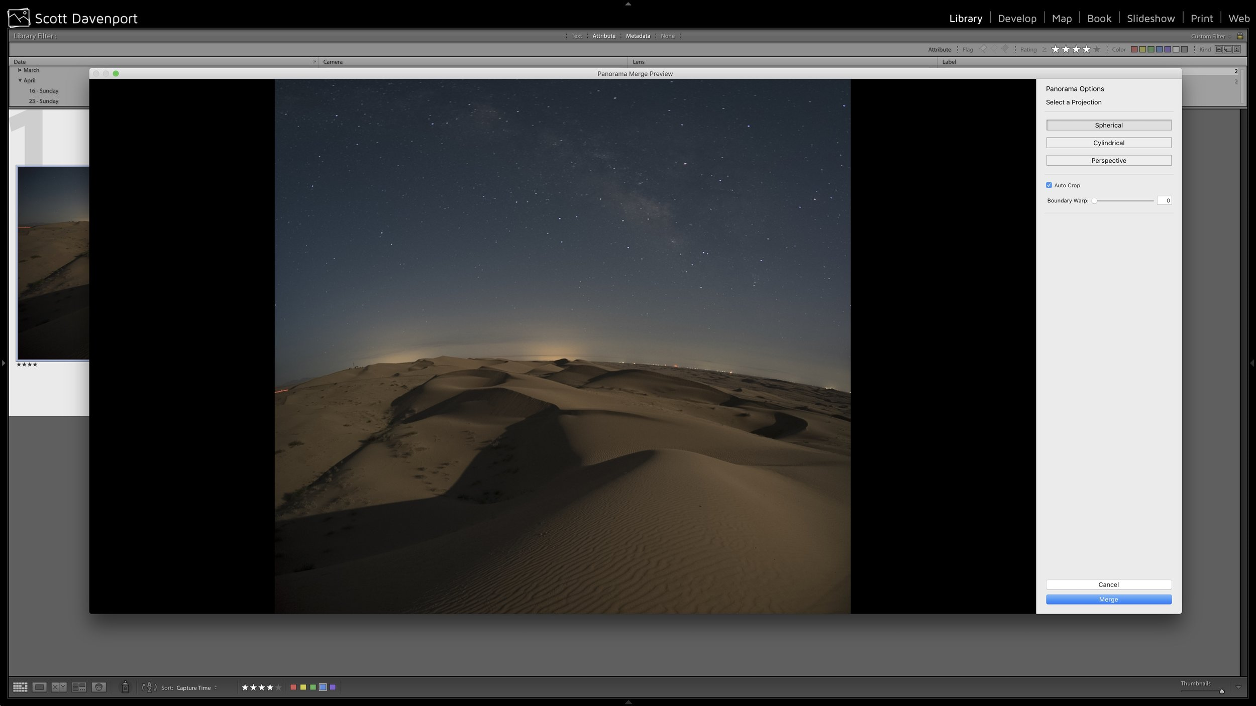 First attempt to merge a bottom to top panorama. Ouch.