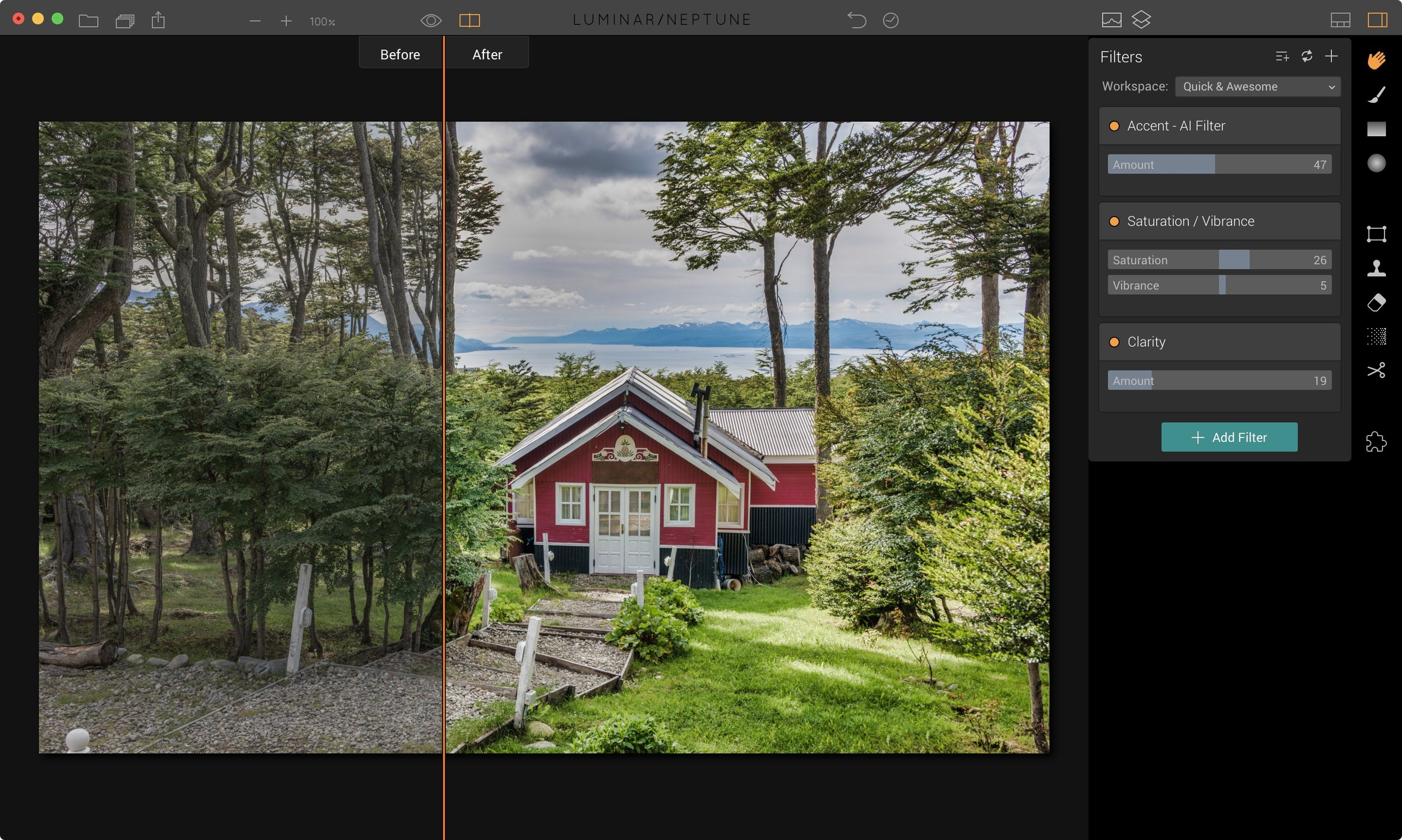 Luminar : The Accent filter in the Quick & Awesome workspace
