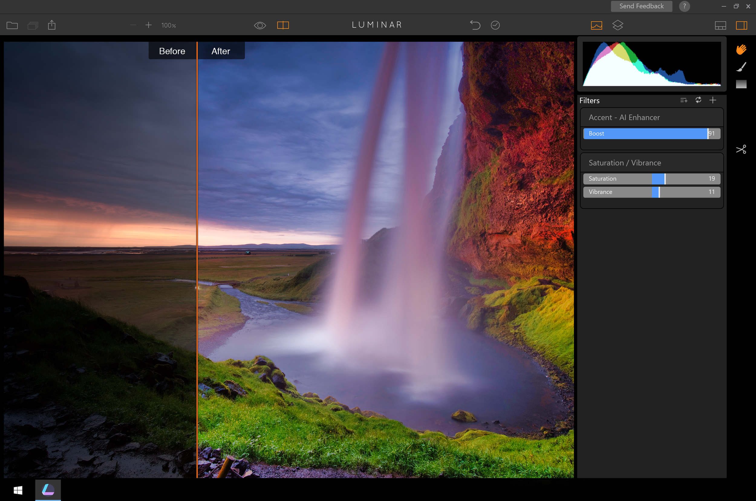 The Accent AI filter uses a single slider to adjust shadows, contrast, highlights, exposure, details and more.