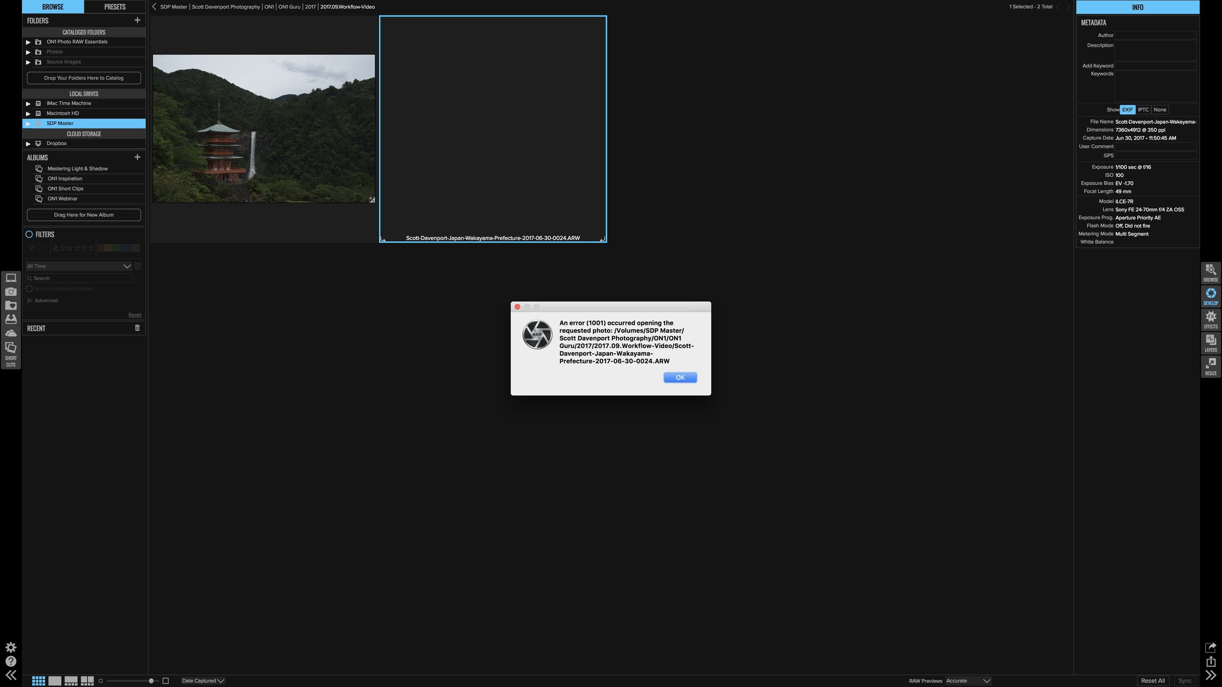 A black thumbnail would not open in Develop or Effects