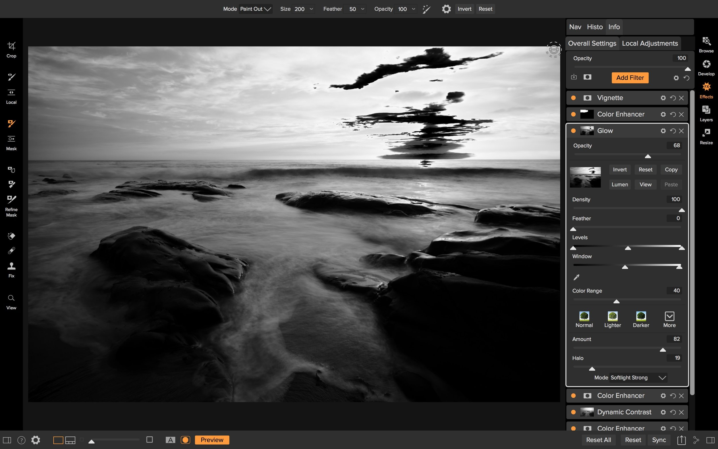 Complex luminosity masks made easy with the Levels and Window sliders.